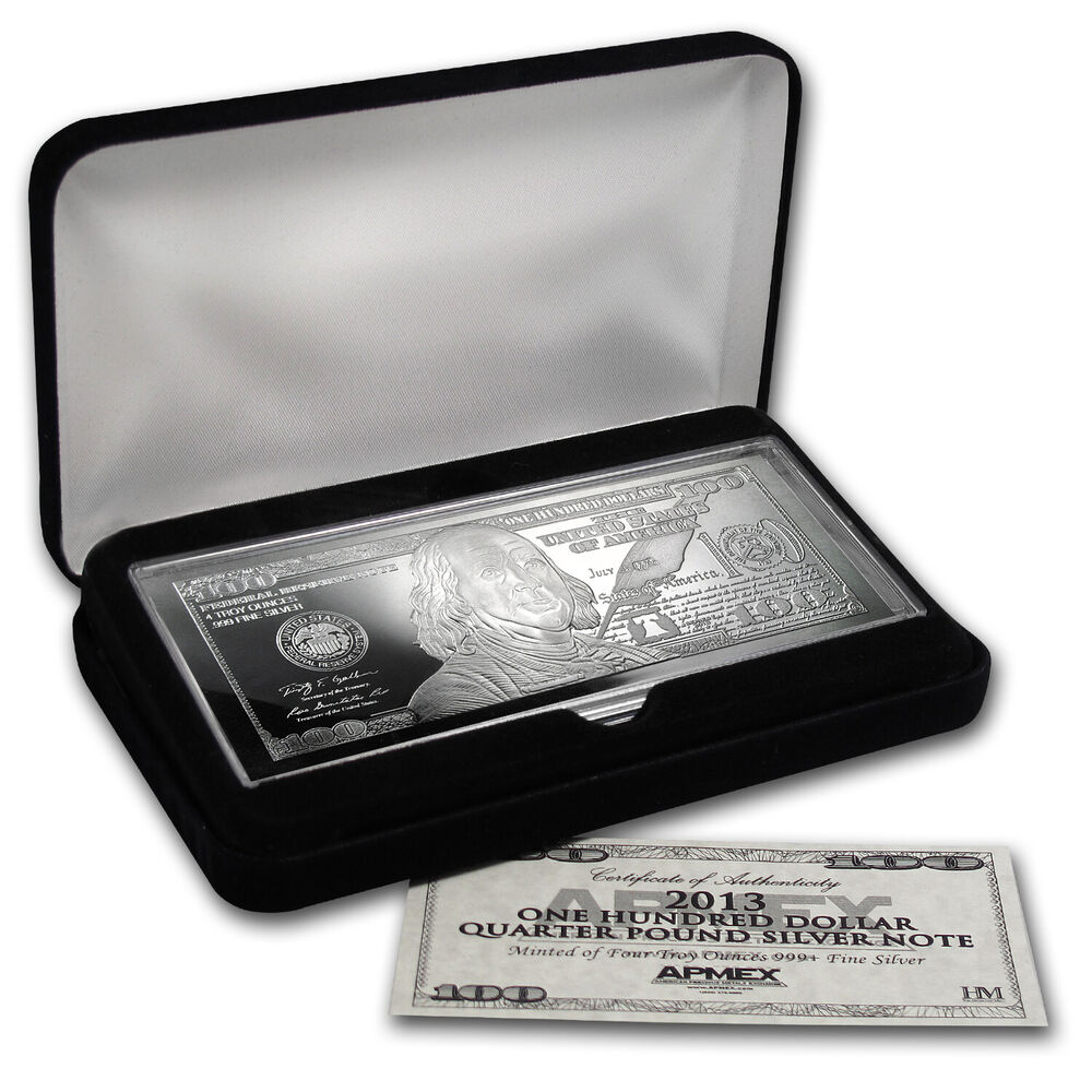 2013 4 Oz Silver 100 Bill Bar With Box And Certificate