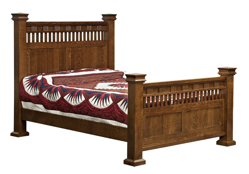 Amish luxury mission sequoya bed solid wood bedroom for Furniture queen bedroom sets