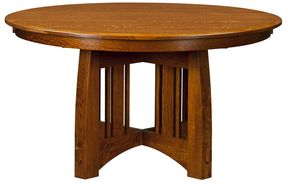 Amish mission round pedestal dining table rustic modern for Solid wood round dining table with leaf