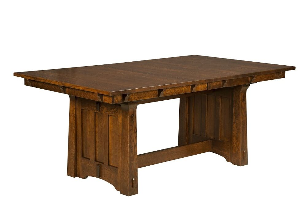 Amish mission trestle dining table kitchen solid wood for Latest wooden dining table