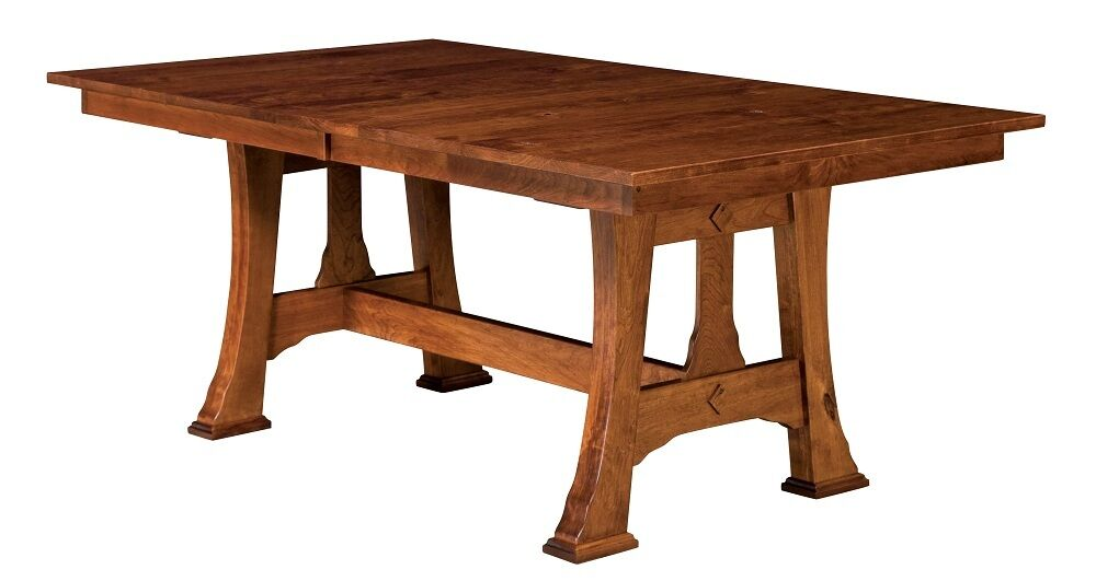 Amish mission trestle dining table rectangle extending for Solid wood round dining table with leaf