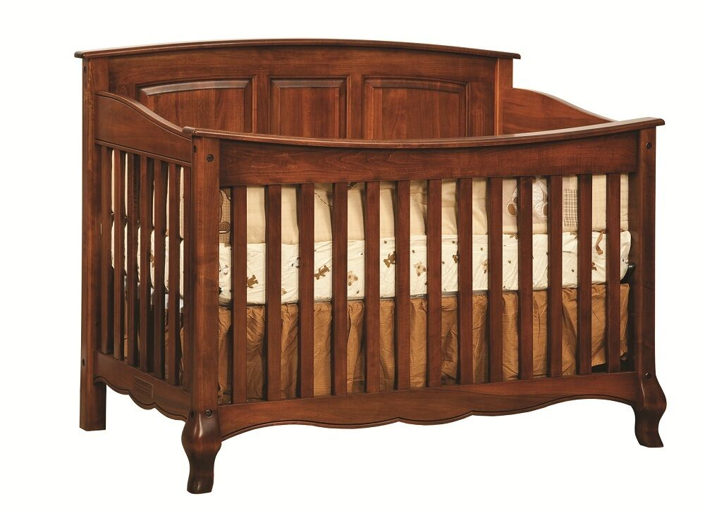 Amish Baby Crib Solid Wood Nursery Furniture Conversion Toddler Bed French Ebay