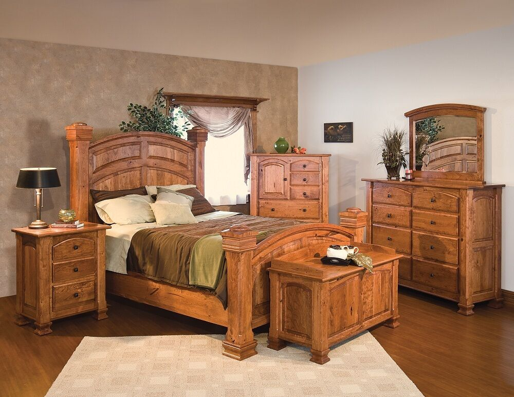 Luxury Amish Rustic Cherry Bedroom Set Solid Wood Full