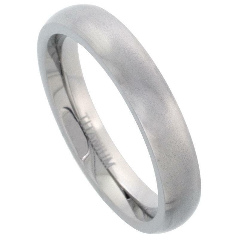 Titanium 4MM Domed Wedding Band Thumb Ring Matte Finish Comfort Fit Size 7 14