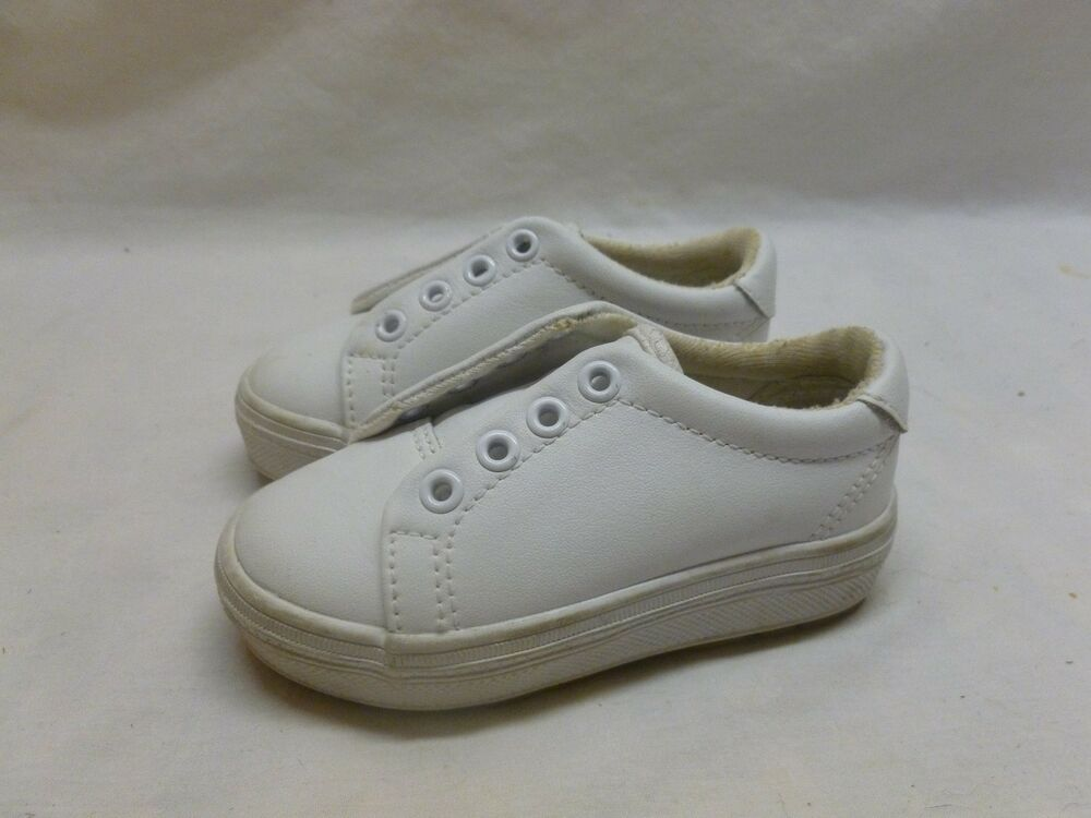 Little Toddler Baby Girls Kids Childs White Leather Keds