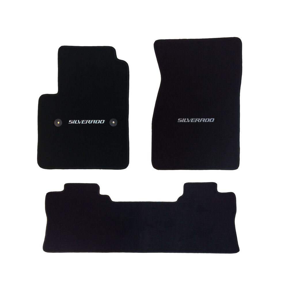 Chevy Silverado Crew Cab 3 Pc Black Carpet Floor Mat Set