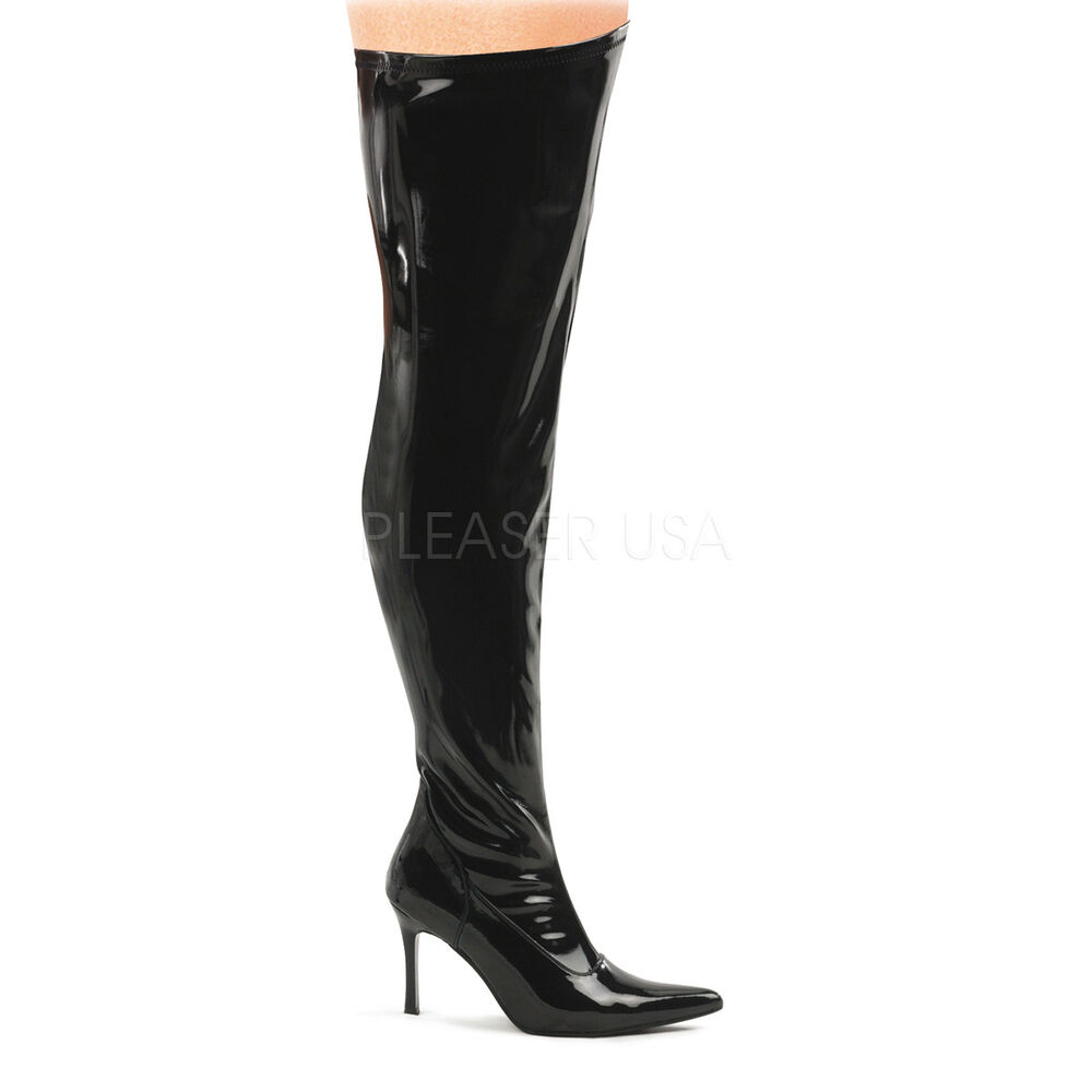 wide width wide shaft 3 3 4 quot heel black thigh high