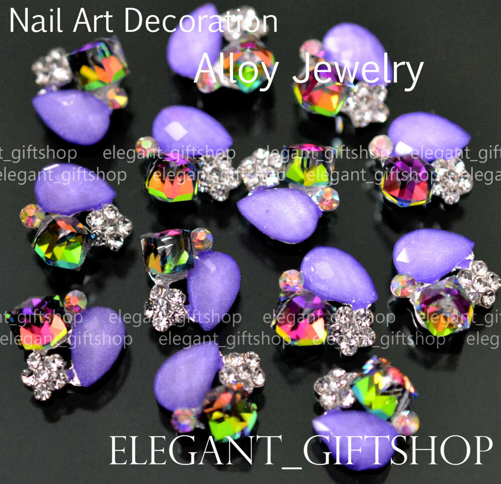 Ea025 10pcs 3d alloy jewelry purple glitter rhinestone for 3d nail art decoration