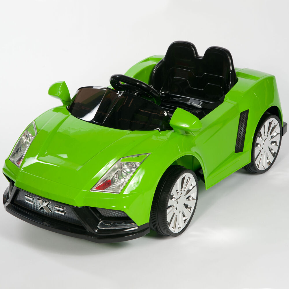 Racer x green 12v kids ride on car electric power wheels for Motorized cars for 5 year olds