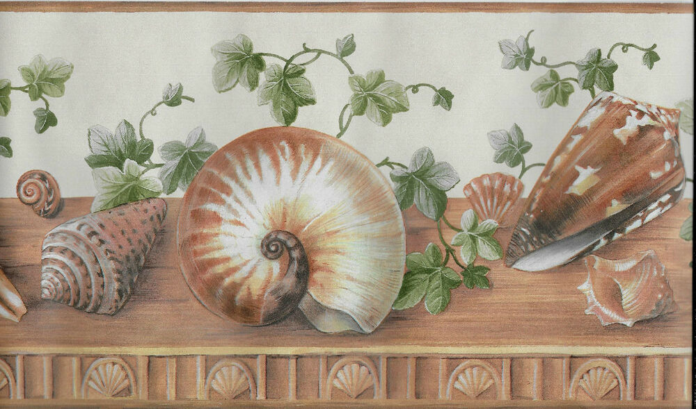 brown seashells and green ivy wallpaper border ebay. Black Bedroom Furniture Sets. Home Design Ideas