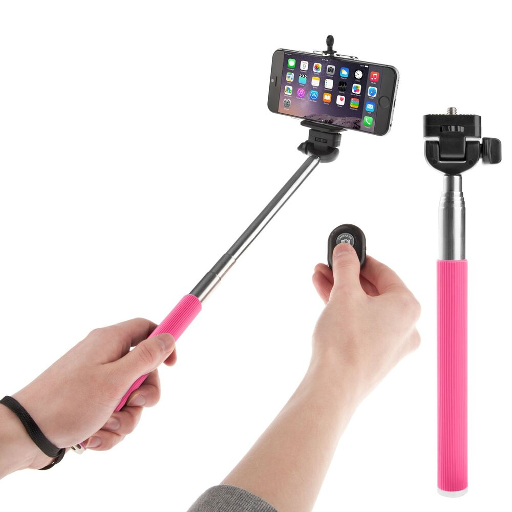 pink extendable handheld selfie stick monopod bluetooth shutter remote. Black Bedroom Furniture Sets. Home Design Ideas