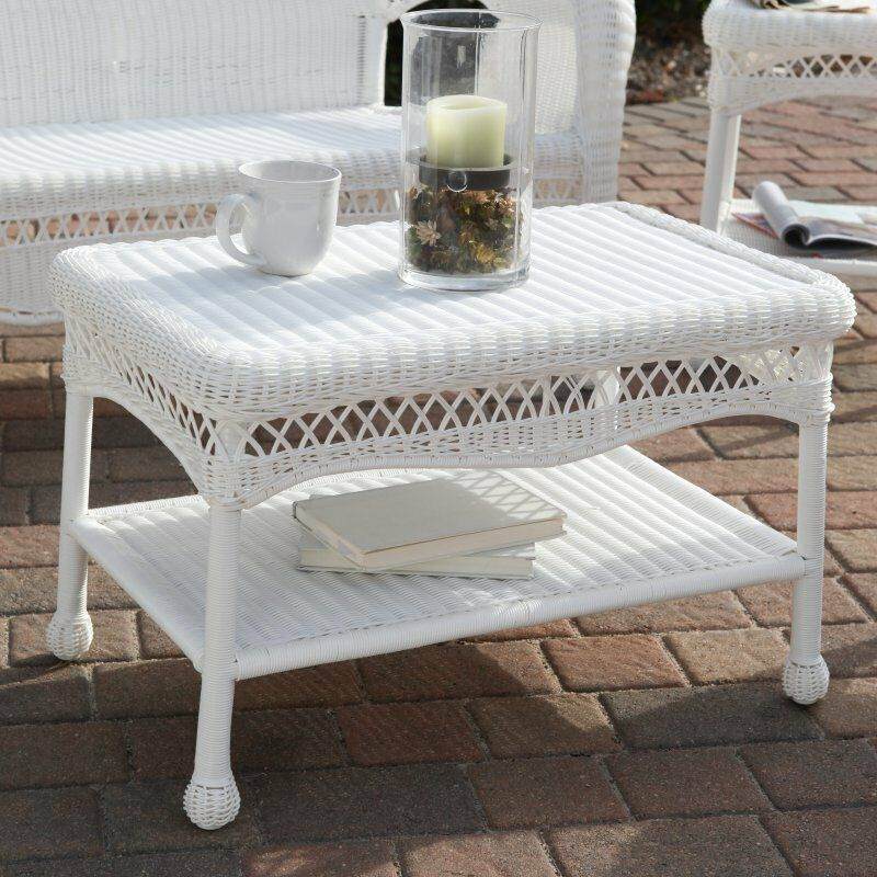 All weather wicker coffee table outdoor patio furniture ebay White wicker coffee table