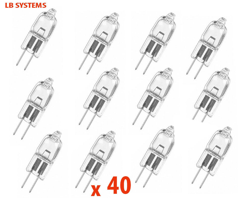 40 x g4 12v 10w 20w and 35w halogen capsule light bulbs lamps 12v new ebay. Black Bedroom Furniture Sets. Home Design Ideas