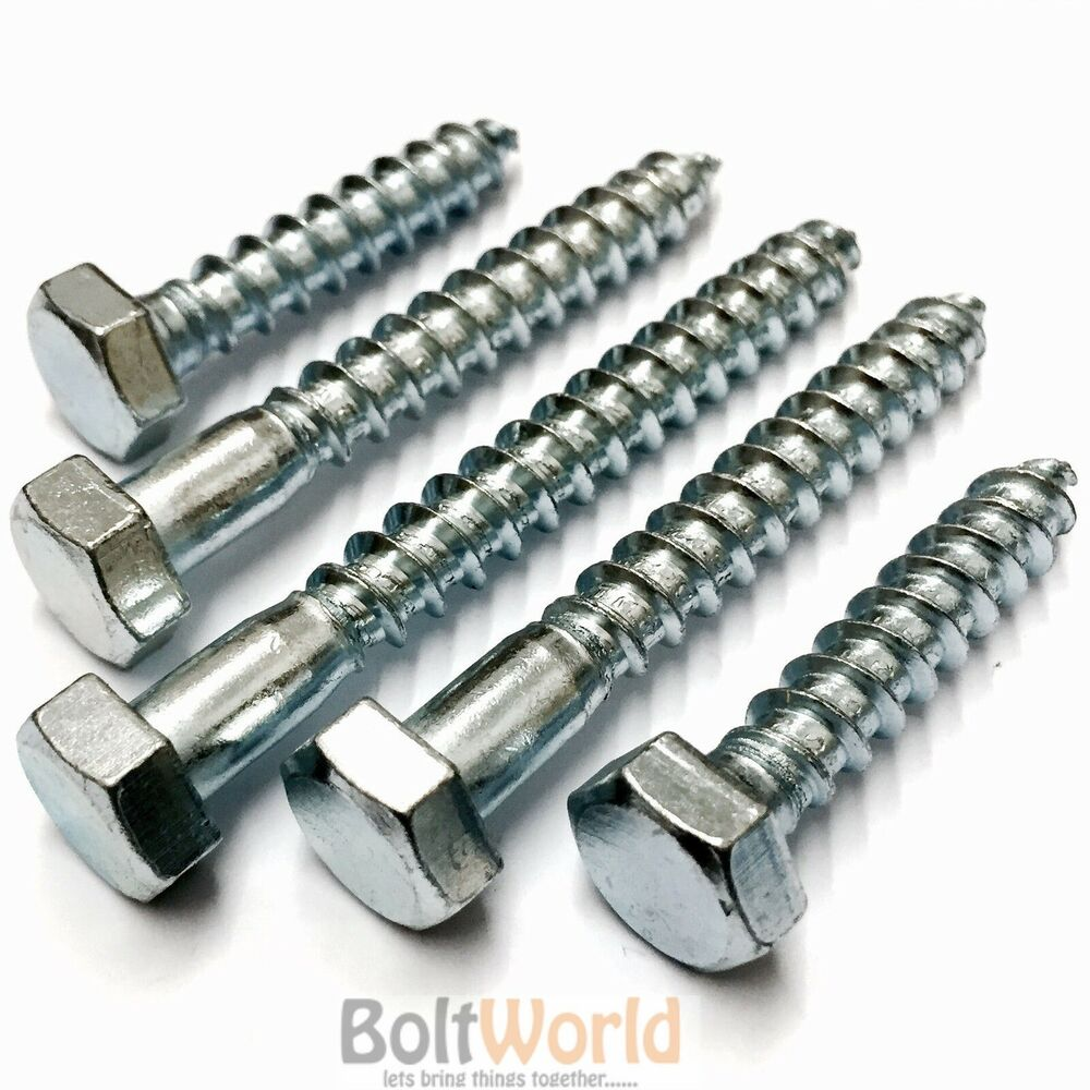 Pictures Of Nuts And Bolts >> M10 / 10mm HEX HEXAGON HEAD WOOD SCREW COACH SCREWS BOLTS ZINC PLATED ALL LENGTH | eBay