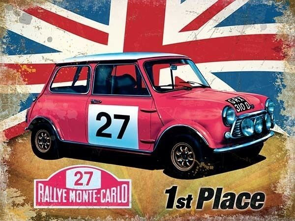 mini rallye monte carlo classic car racing union jack small metal tin sign ebay. Black Bedroom Furniture Sets. Home Design Ideas