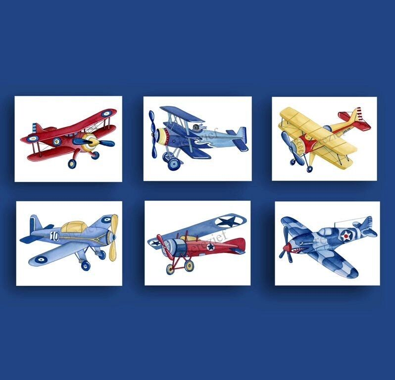 Boy airplane nursery art vintage airplane art print Vintage airplane decor for nursery