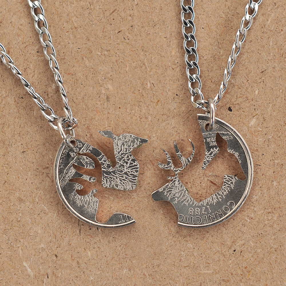 and jewelry buck and doe necklace cut coin 254