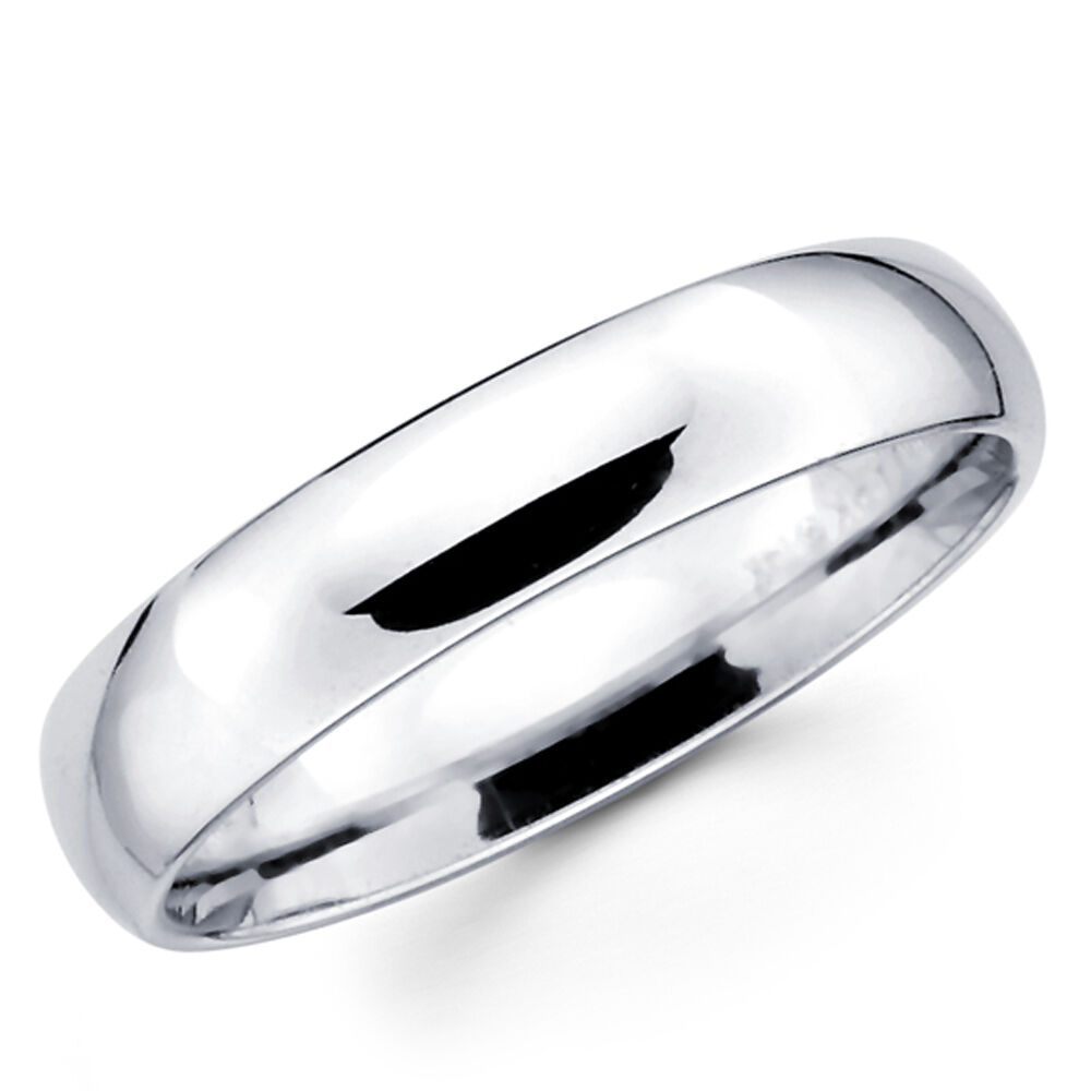 14K Solid White Gold 5mm Plain Men's and Women's Wedding ...