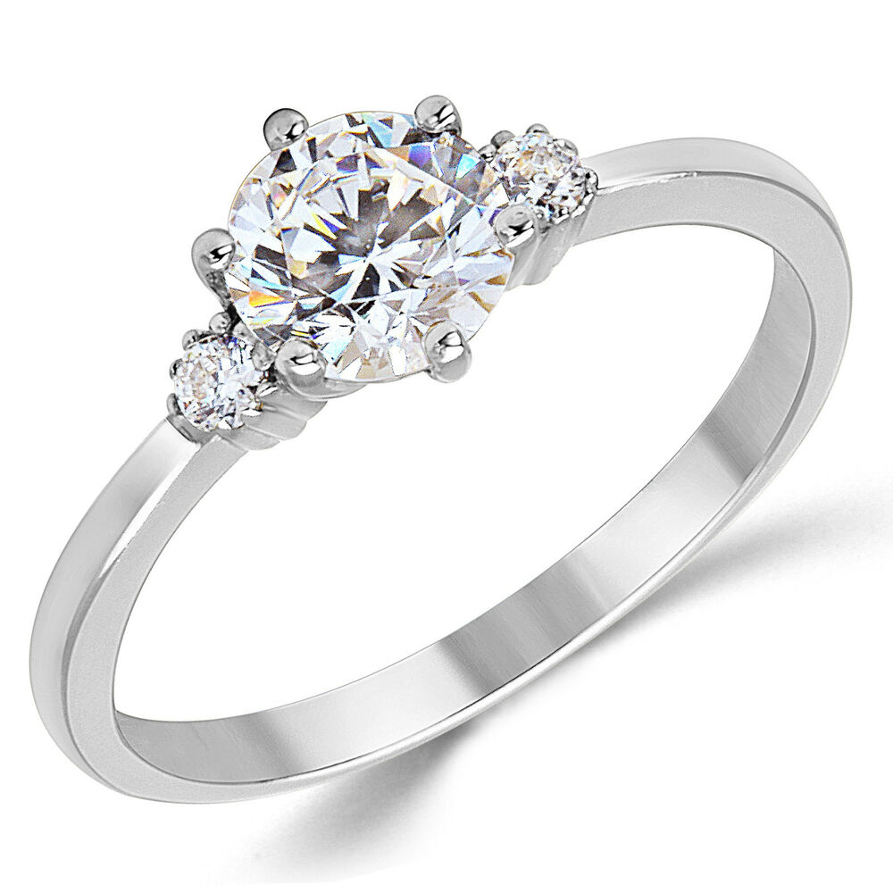 14K Solid White Gold CZ Cubic Zirconia Three Stone Engagement Ring EBay