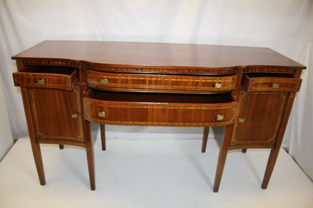 antique english inlaid mahogany sideboard server buffet circa 1910 39 s ebay. Black Bedroom Furniture Sets. Home Design Ideas