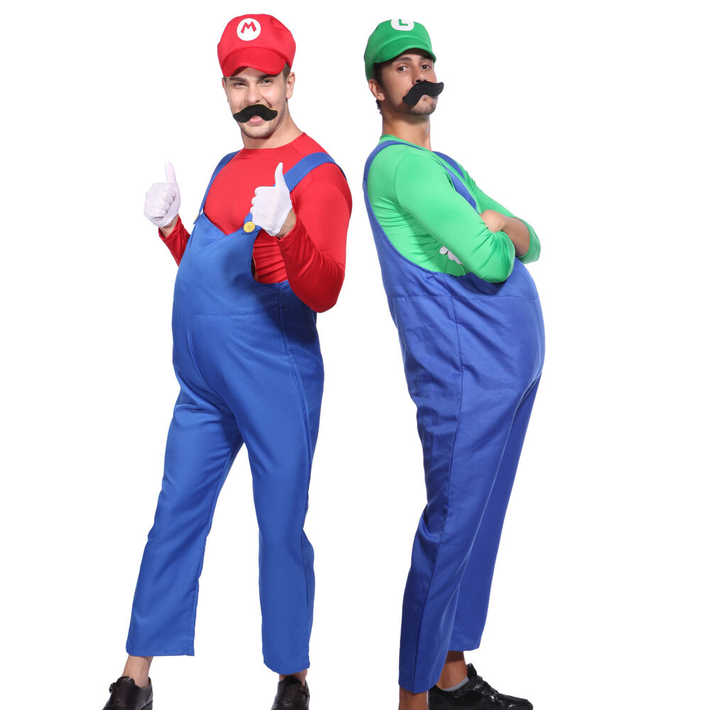 herren kost m super mario bros mario luigi klempner karneval fasching m l xl ebay. Black Bedroom Furniture Sets. Home Design Ideas