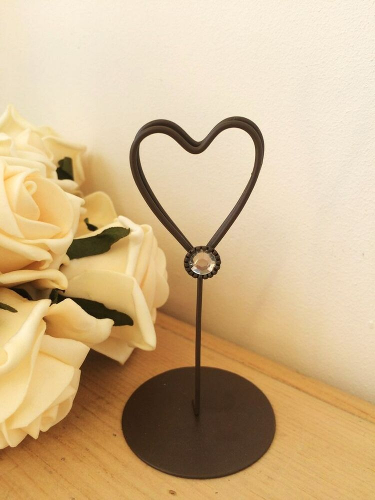 Wire heart table number place card holder clip vintage for Table number holders