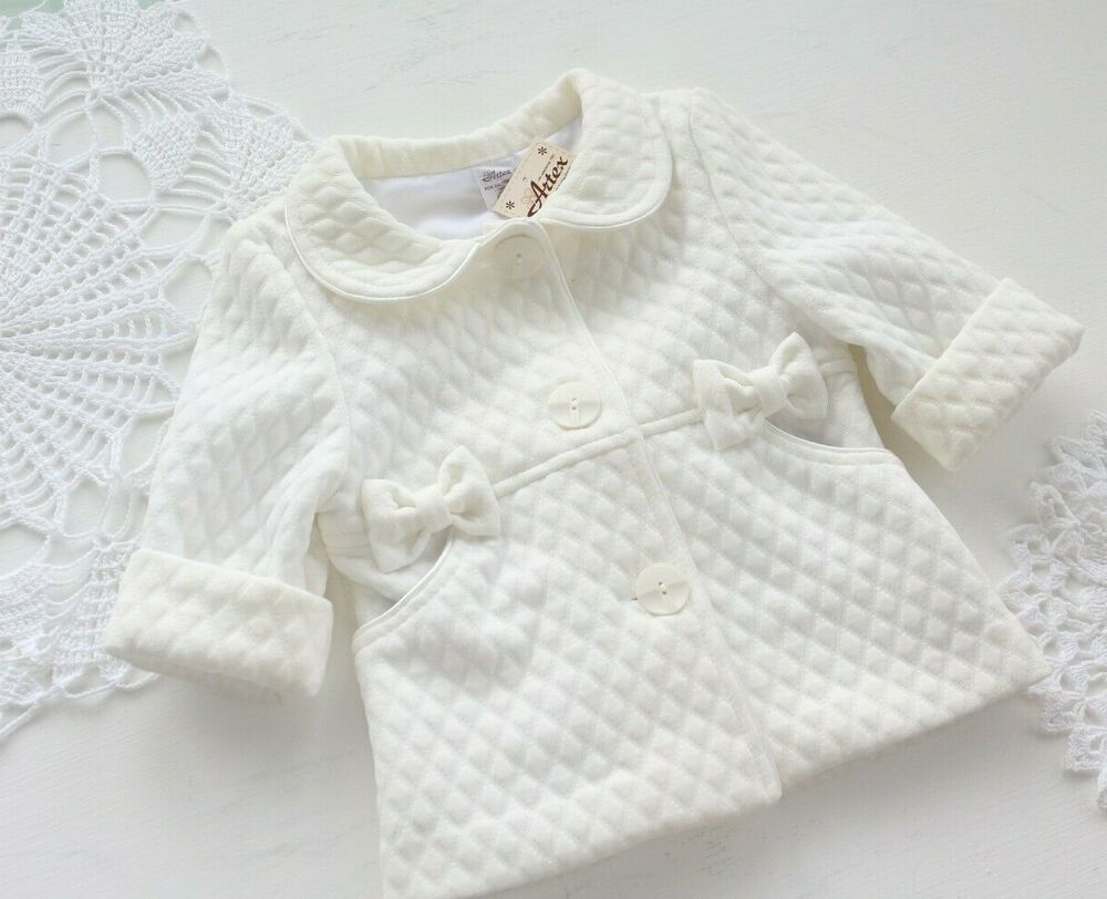298401b065dba Smart Girls Quilted Baby Christening Coat White Ivory Pink 0-18 M