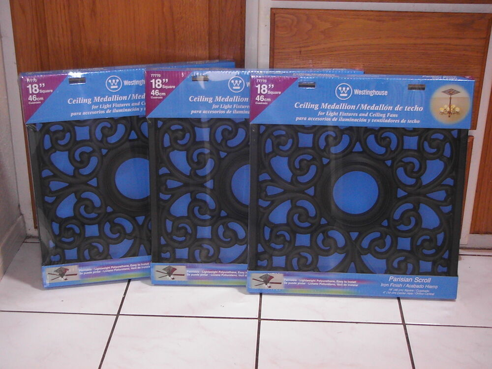 Lot Of 3 Westinghouse Ceiling Medallions Square Parisian Scroll 18x18 Black