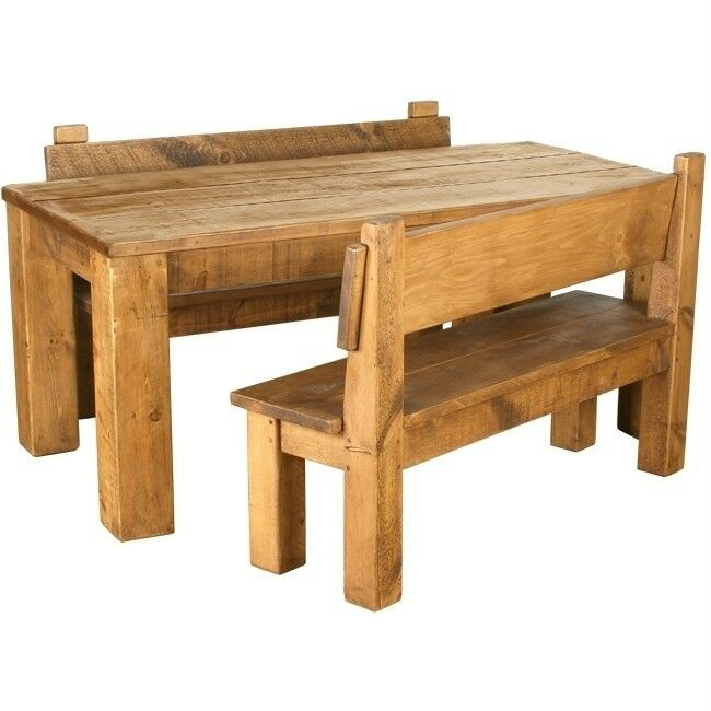 SOLID WOOD DINING TABLE AND BENCHES CHUNKY RUSTIC PLANK PINE FURNITURE Any Si