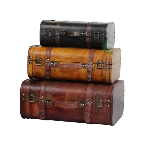 Three Colored Vintage Style Luggage Suitcase