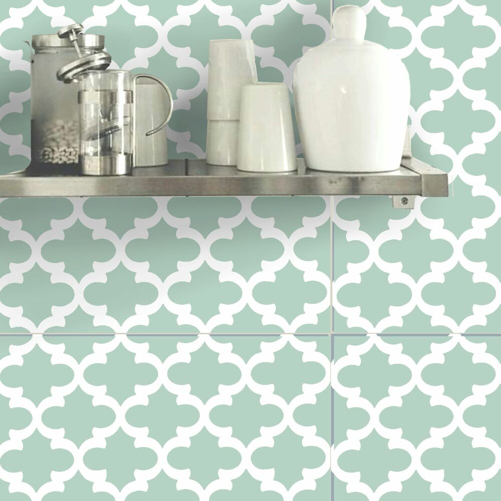 Wall tile sticker kitchen bathroom decorative decal moroccan f060 green ebay - Decorative bathroom tiles ...