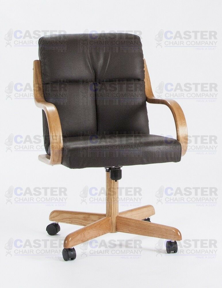 Casual caster dining arm chair swivel tilt oak wood set for Swivel chair dining sets