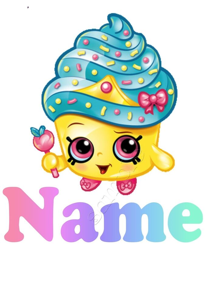 IRON ON TRANSFER PERSONALISED Shopkins Cupcake Cup Cake