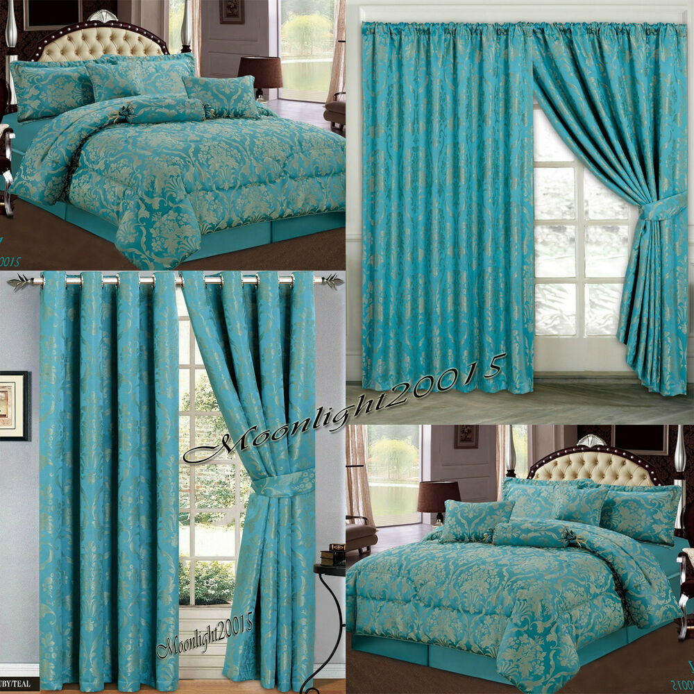 Jacquard Luxury 7 Piece Teal Comforter Set Bedspread