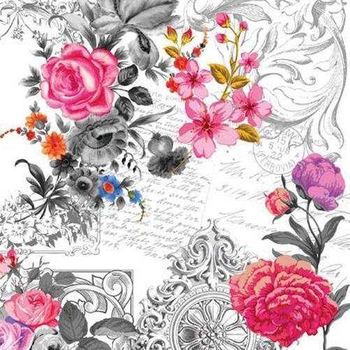 20 Lunch Paper Napkins Royal Rose Shabby Chic Decoupage