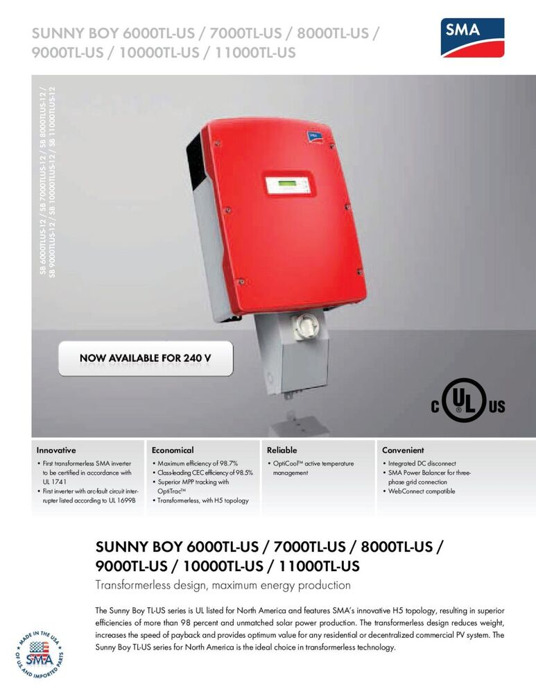 sma sunny boy 8000tl us 10 inverter 208v ebay. Black Bedroom Furniture Sets. Home Design Ideas