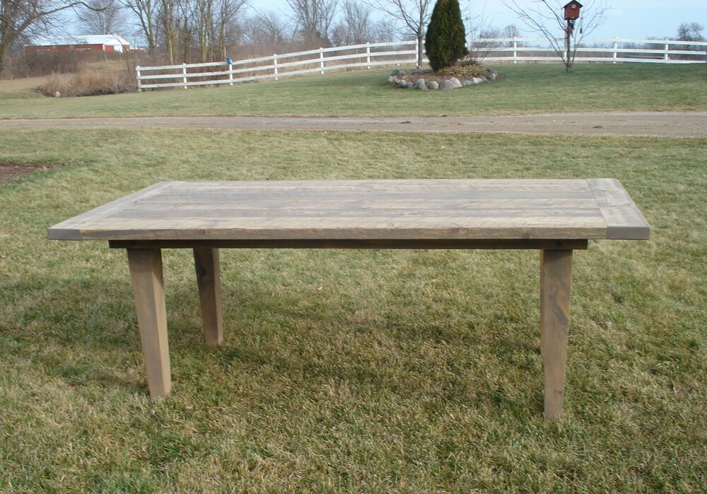 amish rustic plank farmhouse dining table barn wood country kitchen furniture ebay. Black Bedroom Furniture Sets. Home Design Ideas