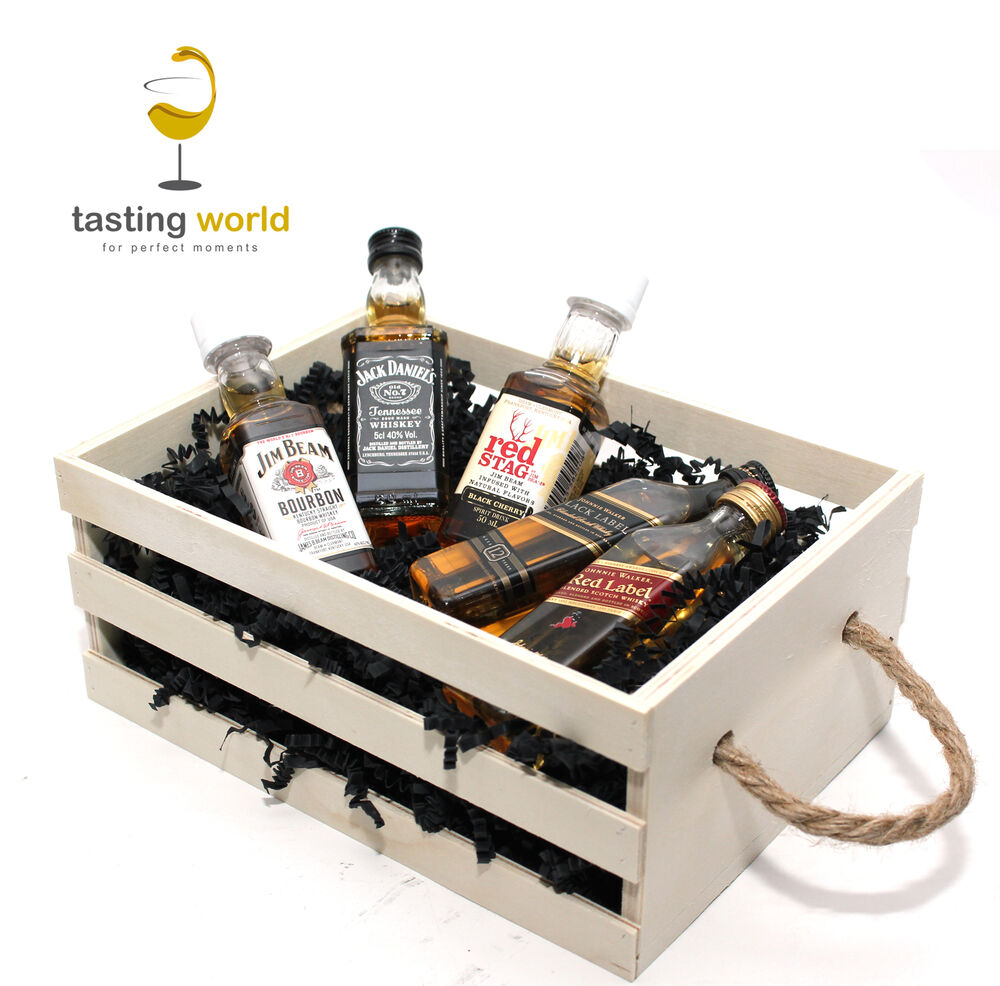 geschenk f r mann m nner freund ihn 5 whisky miniaturen 5cl in holzkiste ebay. Black Bedroom Furniture Sets. Home Design Ideas