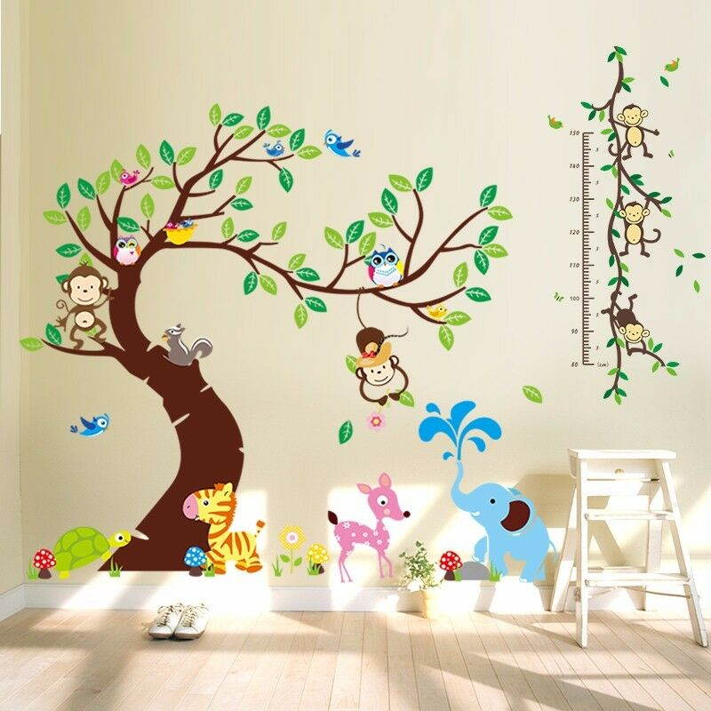 wandtattoo wandsticker aufkleber tiere wald sticker affe baum kinderzimmer xxl ebay. Black Bedroom Furniture Sets. Home Design Ideas