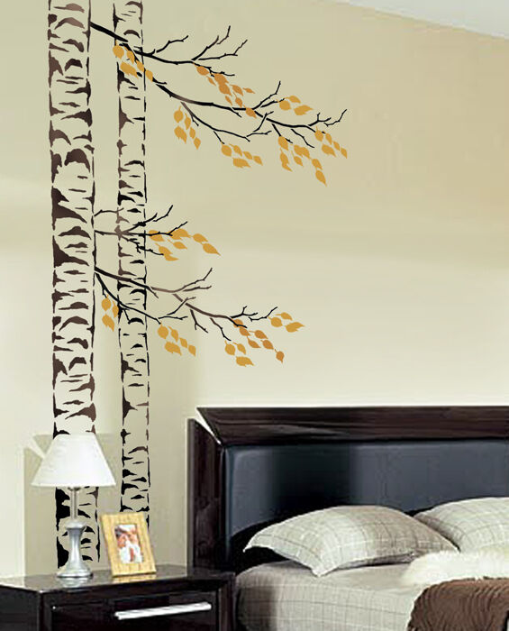 Beautiful birches wall stencil reusable large tree for Stencil wall art