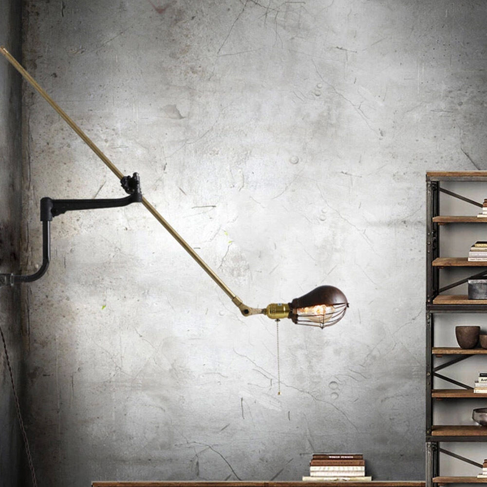 Wall Mount Office Lamp : Vintage Retro Loft Swing Arm Light Edison Lamp Home Office Decor Wall Fixture eBay