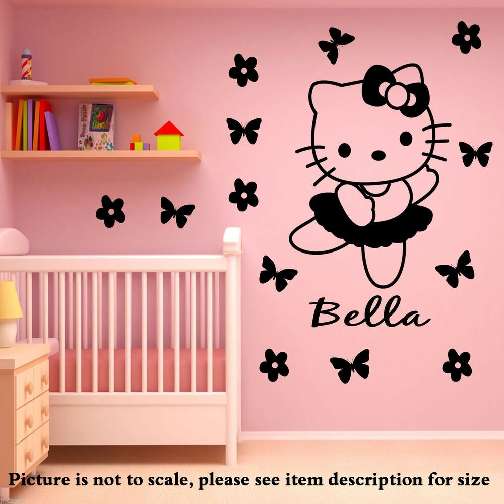 Hello Kitty Personalized Name Wall Stickers Vinyl Decal 14