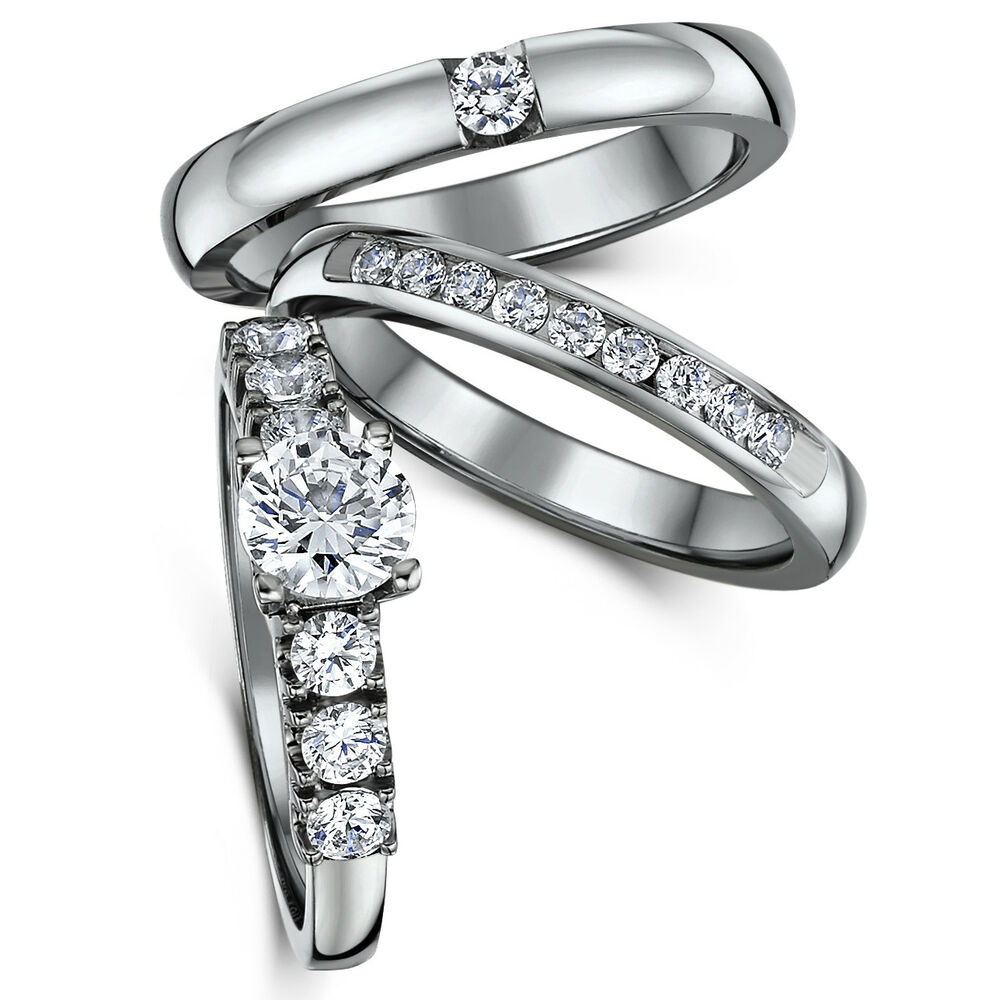 Eternity Ring Wedding Set: Stunning Triple Titanium CZ Bridal Set Engagement Eternity