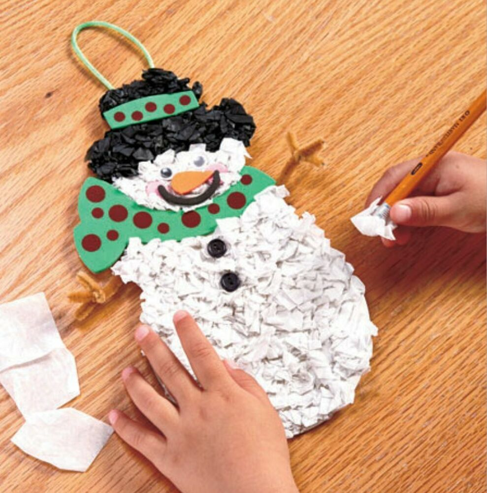 Set 2 craft tissue paper snowman ornament kit groups for Tissue paper for crafts