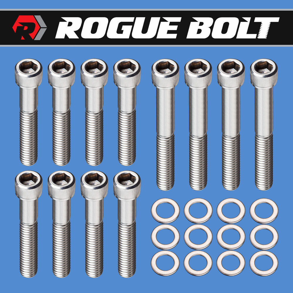"SBC EXHAUST MANIFOLD BOLTS ""RAM HORNS"" STAINLESS SMALL"