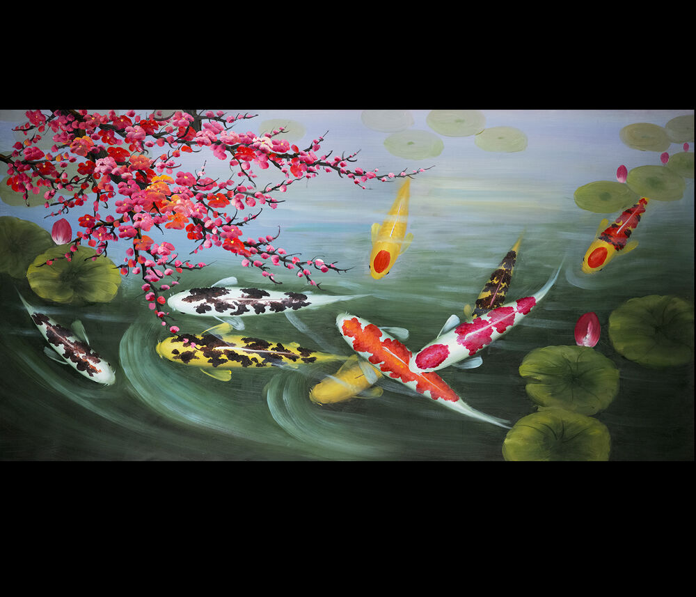 Japanese koi art wall art framed art feng shui fish for Koi fish value