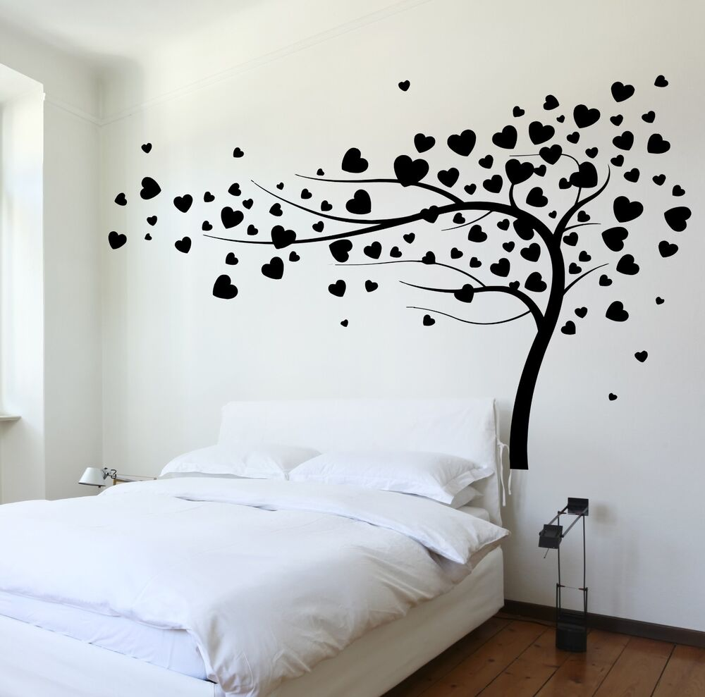 Wall Decal Tree Branch Hearts Leafs For Bedroom Vinyl ...