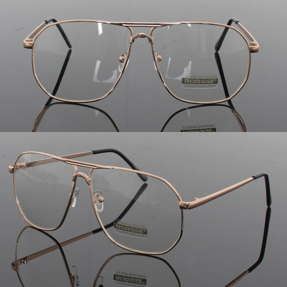 Mens Womens Retro Metal Frame Clear Lens aviator driving ...