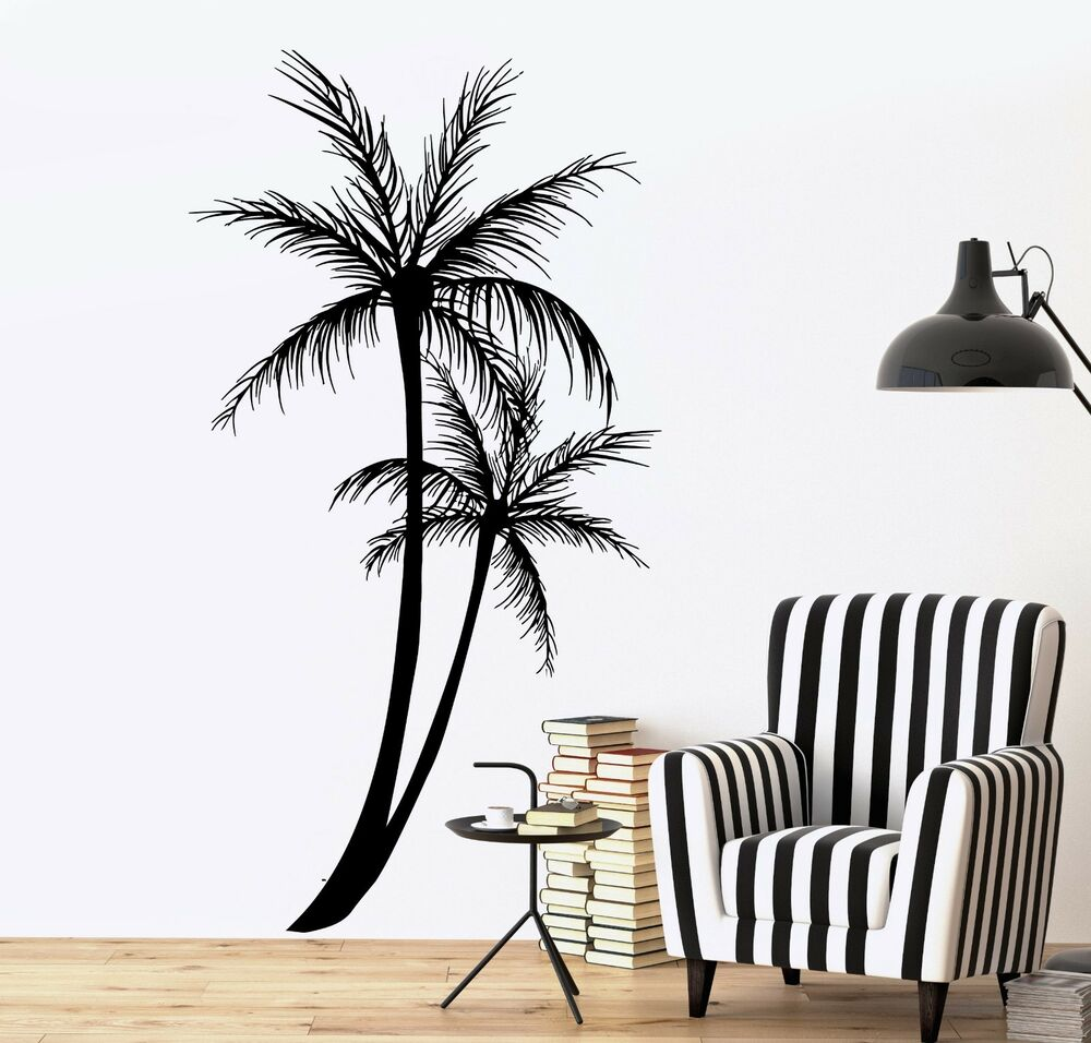 Wall decal palm tree floral romantic vinyl sticker z3630 for Beautiful palm tree decal for wall