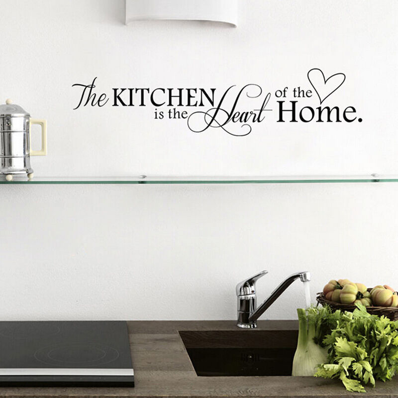 Removable black wall sticker pvc quote kitchen home mural for Black kitchen wall decor